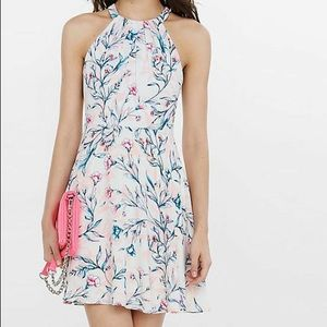 Express Garden Floral Fit And Flare Dress